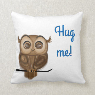 """Hug me"" with baby owl Throw Pillow"
