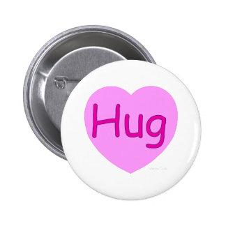 Hug Pink Heart Pinback Buttons