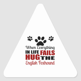 Hug The English Foxhound Dog Triangle Sticker