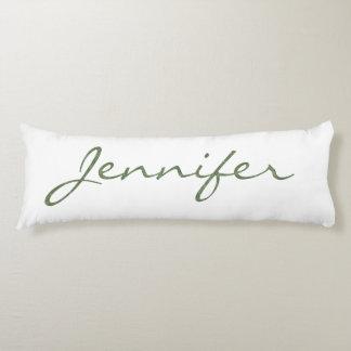 """Hug Yourself"" Kale Green Textured Monogram Name Body Cushion"
