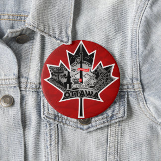 Huge 4 inch button with maple leaf special design