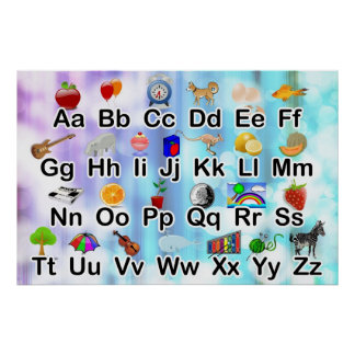 Huge ABC Alphabet Poster with Elementary Graphics