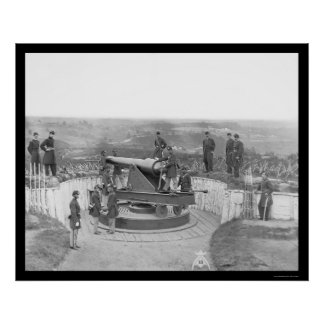 Huge Artillery Gun and Officers in Washington 1865 Poster