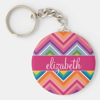Huge Colorful Chevron Pattern with Name Keychain