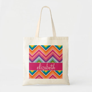 Huge Colorful Chevron Pattern with Name Budget Tote Bag