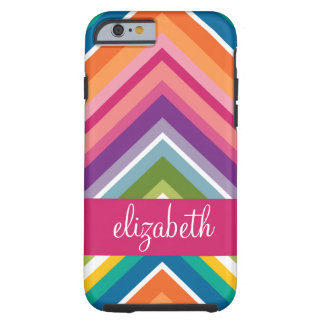 Huge Colourful Chevron Pattern with Name Tough iPhone 6 Case
