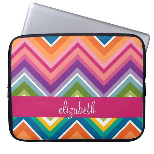 Huge Colourful Chevron Pattern with Name Laptop Sleeve