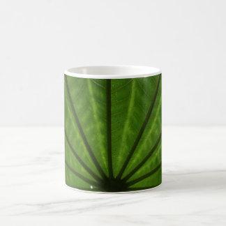 Huge Green Leaf White Coffee Mug