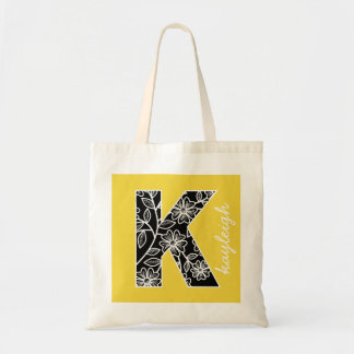 Huge Monogram K - Modern Floral Pattern Yellow Tote Bag