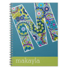 Huge Monogram with Colourful Flowers Letter M Notebook