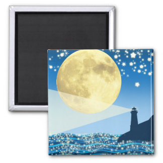 Huge Moon with Lighthouse Magnet