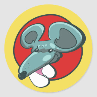 huge mouse head funny cartoon classic round sticker
