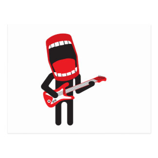 huge mouth guitar player postcard