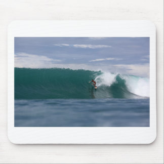 Huge surf, surfing paradise tropical green waves mouse pad
