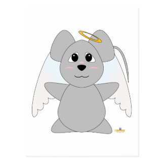 Huggable Angel Gray Mouse Post Cards