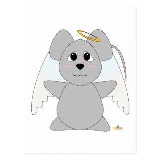 Huggable Angel Gray Mouse Postcard