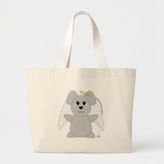 Huggable Angel Gray Mouse Tote Bags