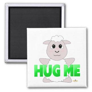 Huggable White Sheep Green Hug Me Fridge Magnets