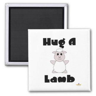 Huggable White Sheep Hug A Lamb Refrigerator Magnet