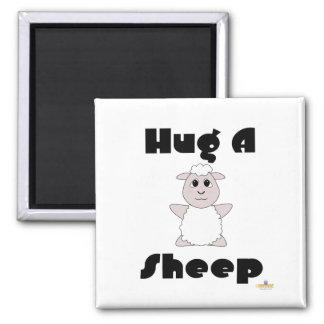 Huggable White Sheep Hug A Sheep Fridge Magnet