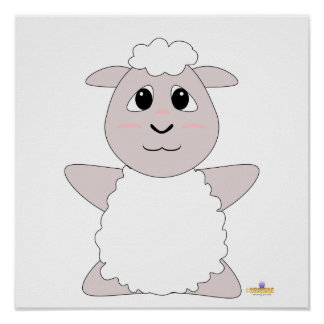 Huggable White Sheep Poster