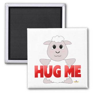 Huggable White Sheep Red Hug Me Refrigerator Magnet