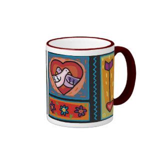 Hugging Love Birds (1) Ringer Mug