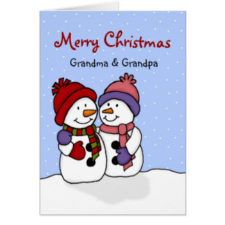 Hugging snowmen Christmas card