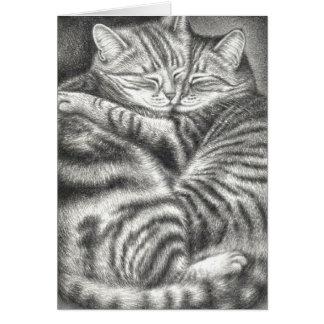 HUGGING TABBY CATS CARD