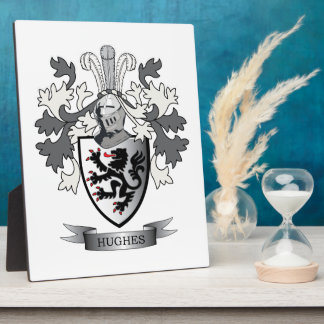 Hughes Family Crest Coat of Arms Plaque