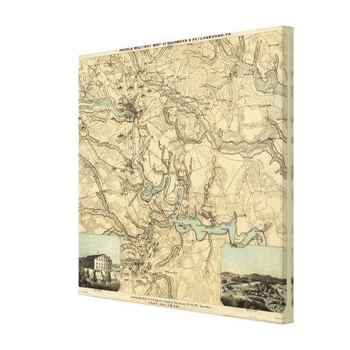 Hughes Military Map Of Richmond and Petersburgh Gallery Wrapped Canvas