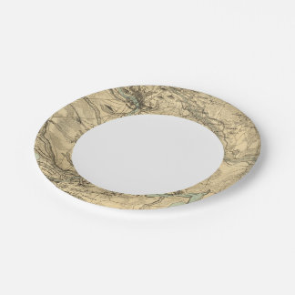 Hughes Military Map Of Richmond and Petersburgh 7 Inch Paper Plate