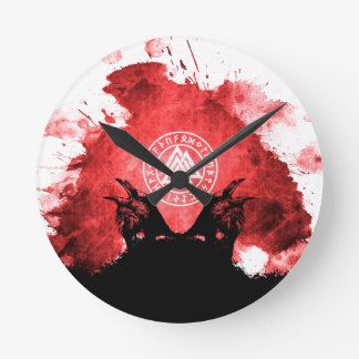 Huginn and Muninn Odin's Ravens Wall Clocks