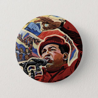 Hugo Chavez - Cartoon Revolution style 6 Cm Round Badge