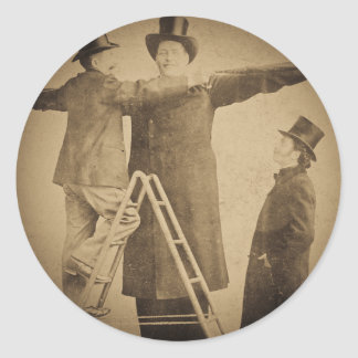 Hugo the Giant Vintage Circus Freak Wendt Photo Round Sticker