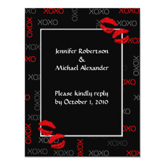 Hugs and Kisses Black Red Wedding Response Cards