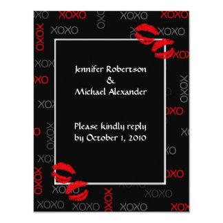 Hugs and Kisses Black Red Wedding Response Cards 11 Cm X 14 Cm Invitation Card