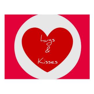 Hugs and Kisses Circle Heart Post Card