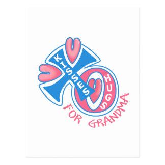 HUGS AND KISSES FOR GRANDMA POSTCARD