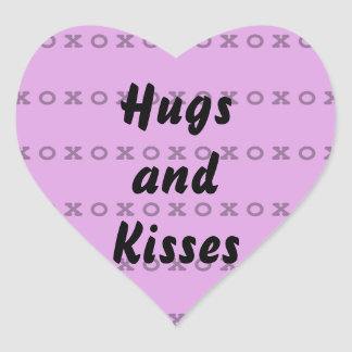 Hugs and Kisses Heart Sticker
