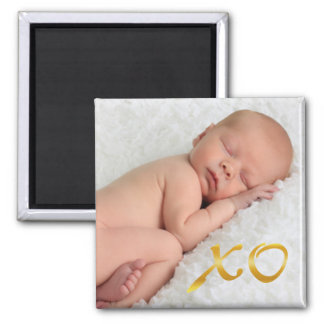 Hugs and Kisses in Gold Baby Photo Magnet