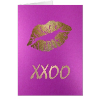 Hugs and Kisses Lip Print Card