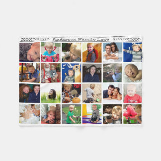 Hugs and Kisses Rustic Family Photo Collage Fleece Blanket