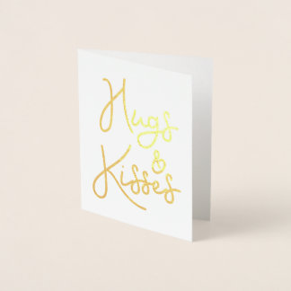 """Hugs and Kisses"" Valentine's Day Photo Foil Card"