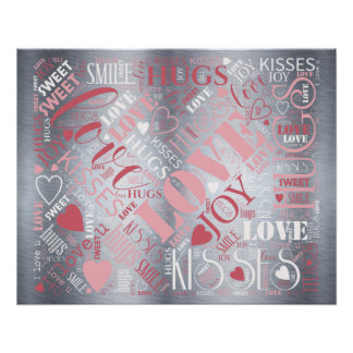 Hugs and Kisses Word Cloud Pink/Silver ID286