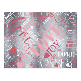 Hugs and Kisses Word Cloud Pink/Silver ID286 Postcard