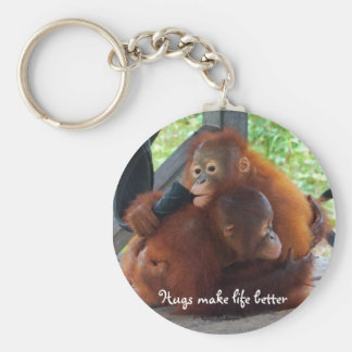Hugs are Important Basic Round Button Key Ring