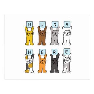 Hugs Here, cartoon cats sending support. Postcard