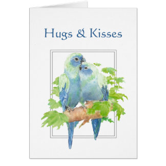 Hugs & Kisses and Birthday Wishes Parrot Couple Card