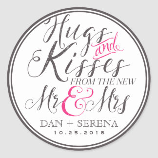 Hugs Kisses from Mr and Mrs Wedding Favour Sticker